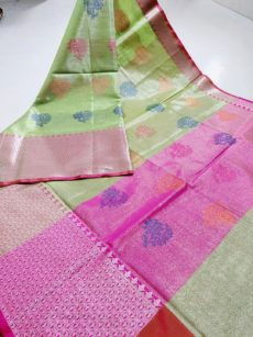 Parrot Green  Zari  Floral  And Leaf  Motif Zari Tissue Cotton Silk  Saree-yespoho