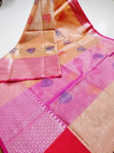 Orange Zari  Floral  And Leaf  Motif Zari Tissue Cotton Silk  Saree-yespoho