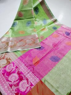 Parrot Green Floral Eye Motif Zari Tissue Cotton Silk  Saree-yespoho