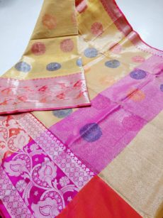Yellow Zari Circle Motif Zari Tissue Cotton Silk  Saree-yespoho