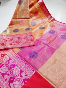 Orange Circle Motif Zari Tissue Cotton Silk  Saree-yespoho