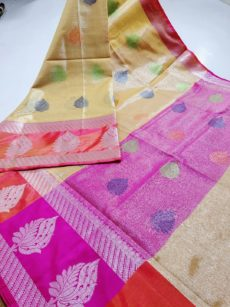 Yellow  Zari  Large Leaf Motif Zari Tissue Cotton Silk  Saree-yespoho