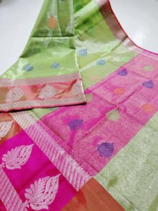 Parrot Green Zari Large Leaf Motif Zari Tissue Cotton Silk  Saree-yespoho