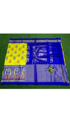Yellow Royal Blue Traditional Peacock Motif  Ikat Silk Saree-yespoho