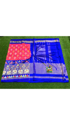 Red Royal Blue Traditional Floral Motif  Ikat Silk Saree-yespoho