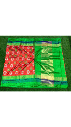 Red Green Floral Motif Ikat Silk Saree-yespoho
