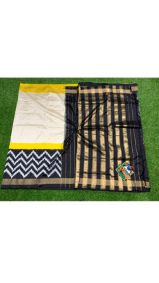 Black Off-White Zigzag Motif Ikat Silk Saree-yespoho