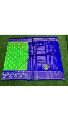 Green Royal Blue  Traditional Motif  Ikat Silk Saree-yespoho