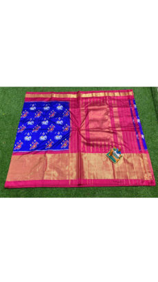 Royal Blue Pink  Elephant And Bird Motif  Ikat Silk Saree-yespoho