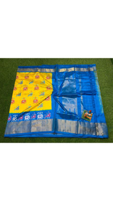 Yellow Blue  Elephant And  Bird  Motif  Ikat Silk Saree-yespoho