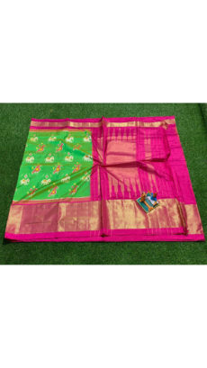 Green pink Elephant And Bird Motif  Ikat Silk Saree-yespoho