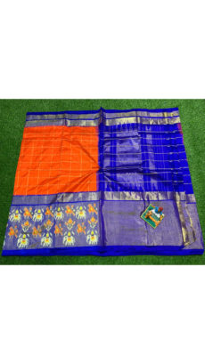 Orange Royal Blue Checks Ikat Silk Saree-yespoho