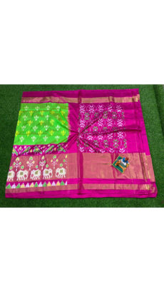 Green Pink Traditional Floral Motif  Ikat Silk Saree-yespoho