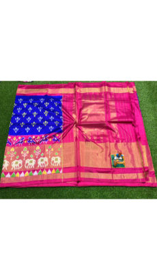 Royal Blue Pink Traditional Floral Motif  Ikat Silk Saree-yespoho