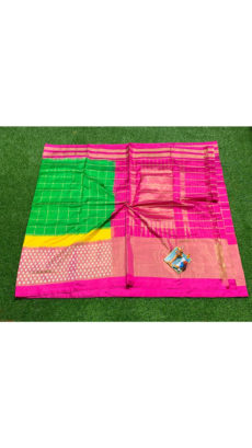 Green Pink Check  Ikat Silk Saree-yespoho