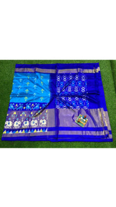 Royal Blue Flower Motif Ikat Silk Saree-yespoho