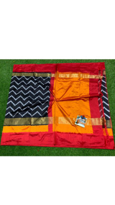 Black  Red Zigzag Motif Ikat Silk Saree-yespoho