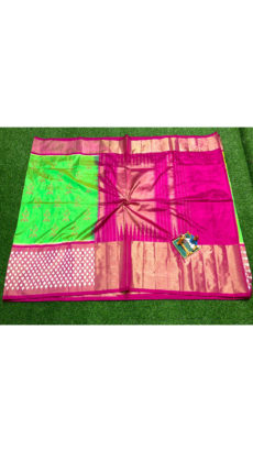 Green Pink Traditional Motif Ikat Silk Saree-yespoho