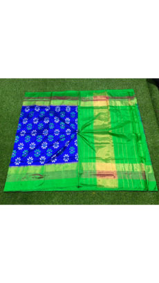 Royal Blue  Green Floral Motif Ikat Silk Saree-yespoho