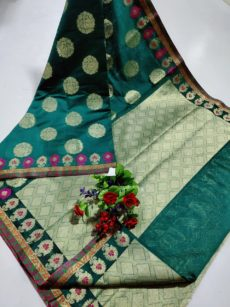 Dark Teal Maheswari Cotton With Zari Butta Sarees-yespoho
