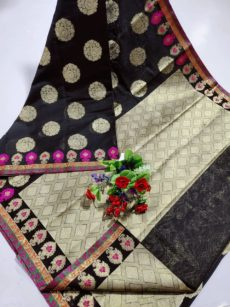 Black Maheswari Cotton With Zari Butta Sarees-yespoho