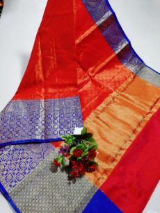 Orange  Banarasi Kora Silk Saree-yespoho