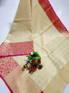 Cream White  Banarasi Kora Silk Saree-yespoho
