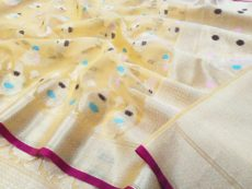 Lemon Yellow  Banarasi Kora Organza  Saree-yespoho