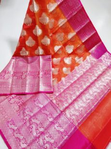 Dark Orange With Pink  Peacock Motif Kora Organza Saree-yespoho