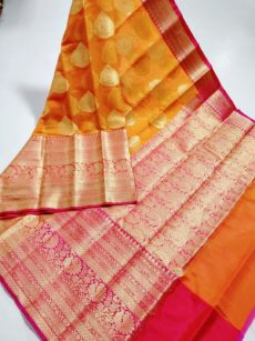 Light Orange  Kora Organza  Saree-yespoho