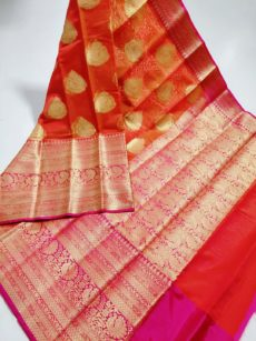 Dark Orange With Pink Soft Kora Organza  Saree-yespoho