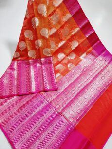 Dark Orange Floral Motif Kora Organza Saree-yespoho