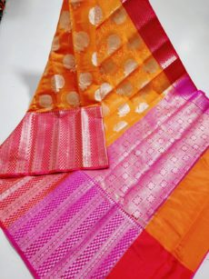 Orange Floral Motif Kora Organza Saree-yespoho