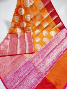 Orange Circle Peacock Motif Kora Organza Saree-yespoho
