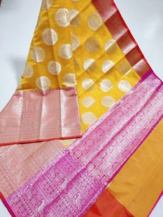 Yellow Circle Peacock Motif Kora Organza Saree-yespoho