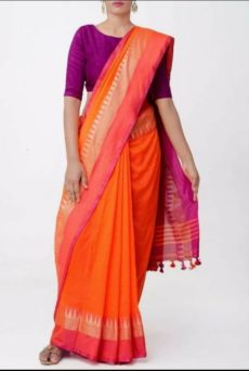 Orange Temple Border Cotton Saree-yespoho