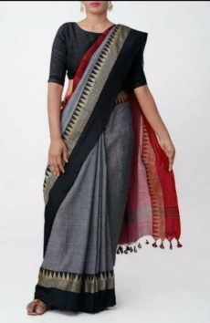 Still grey Temple Border Cotton Saree-yespoho