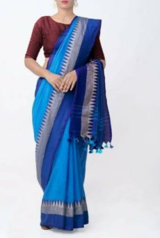 Sky Blue Temple Border Cotton Saree-yespoho