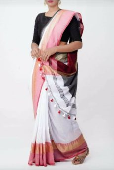 White Temple Border Cotton Saree-yespoho