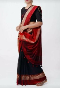 Black Temple Border Cotton Saree-yespoho
