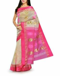 Cream White And Pink Gorod Matka Silk Sarees-yespoho