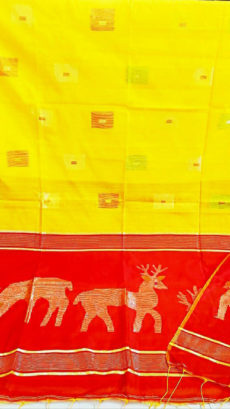 Red And yellow Deer Motif Silk Cotton saree-yespoho