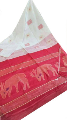 Red And White Deer Motif Silk Cotton Saree-yespoho