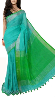 Firozi And Light Green Plain Bengal Linen Saree-yespoho