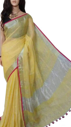 Lemon yellow Plain Bengal Linen Saree-yespoho