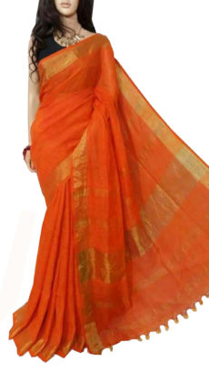 Orange Plain  Bengal Linen Saree-yespoho
