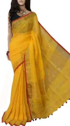 Deep Yellow Plain Bengal Linen Saree-yespoho