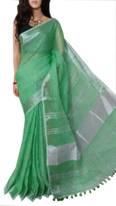 Fern Green Plain Bengal Linen Saree-yespoho