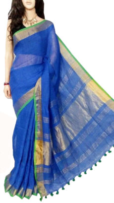 Royal Blue Plain Bengal Linen Saree-yespoho