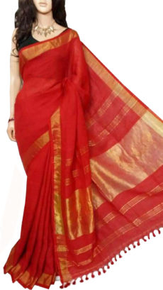 Dark Red Plain Bengal Linen Saree-yespoho